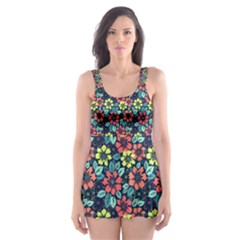 Tropical flowers Skater Dress Swimsuit