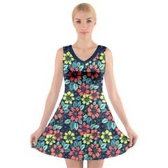 Tropical Flowers V Neck Sleeveless Skater Dress