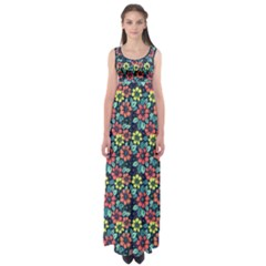 Tropical flowers Empire Waist Maxi Dress