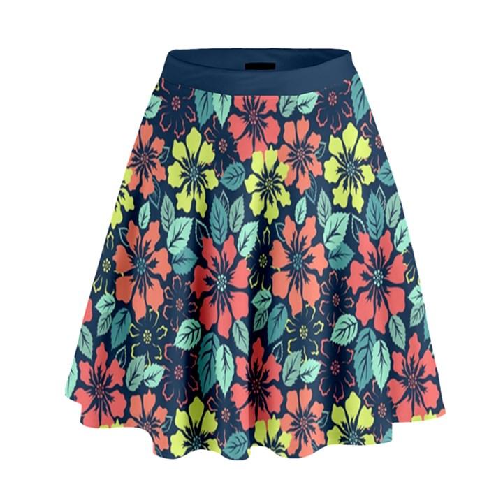 Tropical flowers High Waist Skirt