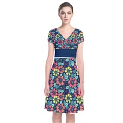 Tropical Flowers Short Sleeve Front Wrap Dress