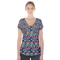 Tropical flowers Short Sleeve Front Detail Top