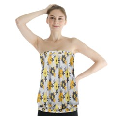 Charcoal Floral Strapless Top