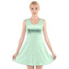 Mint Confetti V Neck Sleeveless Dress