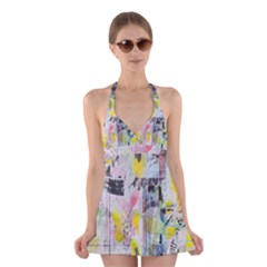 Graffiti Graphic Halter Swimsuit Dress