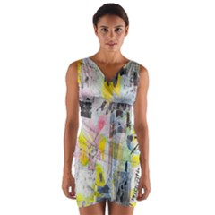 Graffiti Graphic Wrap Front Bodycon Dress