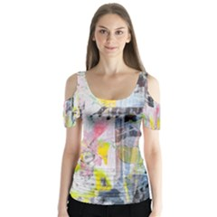 Graffiti Graphic Butterfly Sleeve Cutout Tee