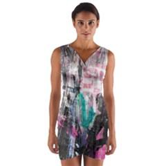 Graffiti Grunge Love Wrap Front Bodycon Dress