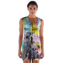 Graffiti Pop Wrap Front Bodycon Dress
