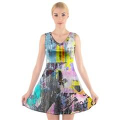 Graffiti Pop V-Neck Sleeveless Skater Dress