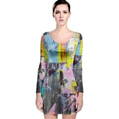 Graffiti Pop Long Sleeve Velvet Bodycon Dress