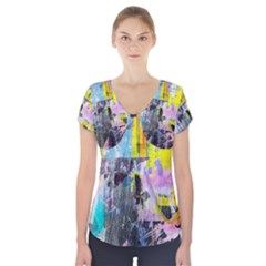 Graffiti Pop Short Sleeve Front Detail Top