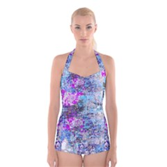 Graffiti Splatter Boyleg Halter Swimsuit
