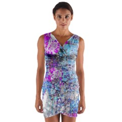 Graffiti Splatter Wrap Front Bodycon Dress