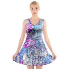 Graffiti Splatter V Neck Sleeveless Skater Dress