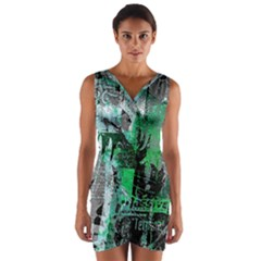 Green Urban Graffiti Wrap Front Bodycon Dress