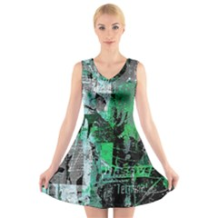 Green Urban Graffiti V-Neck Sleeveless Skater Dress