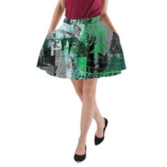 Green Urban Graffiti A-Line Pocket Skirt