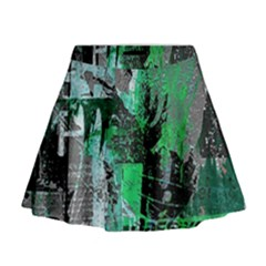 Green Urban Graffiti Mini Flare Skirt