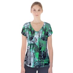 Green Urban Graffiti Short Sleeve Front Detail Top