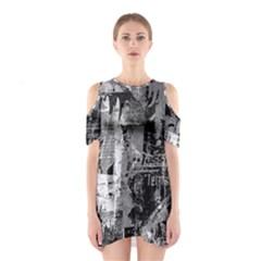 Urban Graffiti Cutout Shoulder Dress