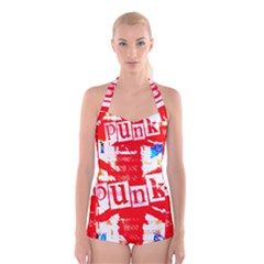 Punk Union Jack Boyleg Halter Swimsuit