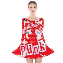 Punk Union Jack Long Sleeve Velvet Skater Dress