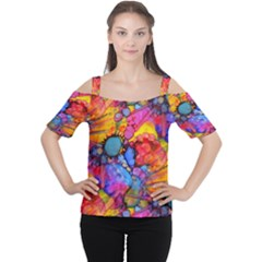 Rainbow Bursts Alcohol Inks Women s Cutout Shoulder Tee