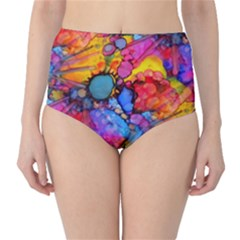 Rainbow Bursts Alcohol Inks High-Waist Bikini Bottoms