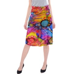 Rainbow Bursts Alcohol Inks Midi Beach Skirt