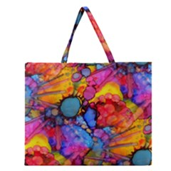 Rainbow Bursts Alcohol Inks Zipper Large Tote Bag