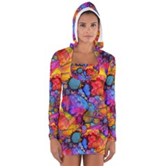 Rainbow Bursts Alcohol Inks Women s Long Sleeve Hooded T-shirt