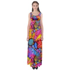 Rainbow Bursts Alcohol Inks Empire Waist Maxi Dress