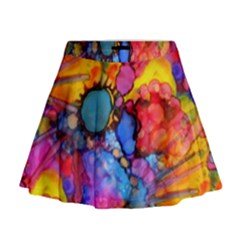Rainbow Bursts Alcohol Inks Mini Flare Skirt