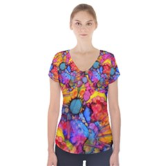 Rainbow Bursts Alcohol Inks Short Sleeve Front Detail Top