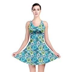 Tropical Flowers Menthol Color Reversible Skater Dress