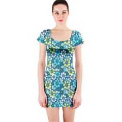 Tropical flowers Menthol color Short Sleeve Bodycon Dress
