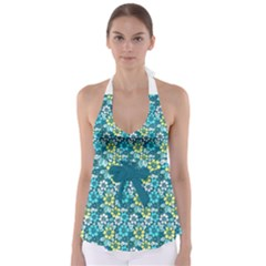 Tropical Flowers Menthol Color Babydoll Tankini Top