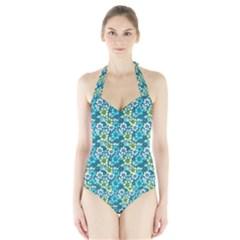 Tropical Flowers Menthol Color Halter Swimsuit