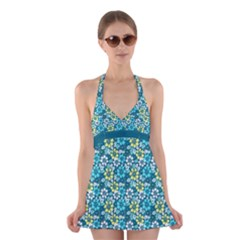 Tropical flowers Menthol color Halter Swimsuit Dress