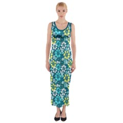Tropical flowers Menthol color Fitted Maxi Dress