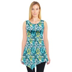 Tropical Flowers Menthol Color Sleeveless Tunic
