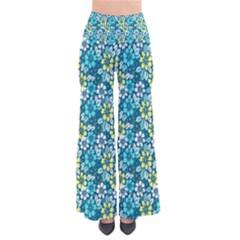 Tropical flowers Menthol color Pants