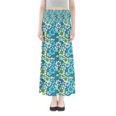 Tropical Flowers Menthol Color Maxi Skirts