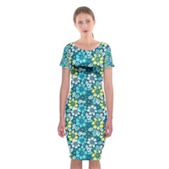 Tropical flowers Menthol color Classic Short Sleeve Midi Dress