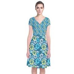 Tropical flowers Menthol color Short Sleeve Front Wrap Dress
