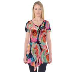 Painted Pastel Roses Short Sleeve Tunic