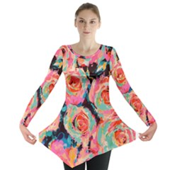 Pastel Painted Roses Long Sleeve Tunic