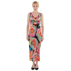 Pastel Painted Roses Fitted Maxi Dress