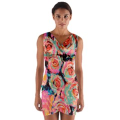 Painted Pastel Roses Wrap Front Bodycon Dress